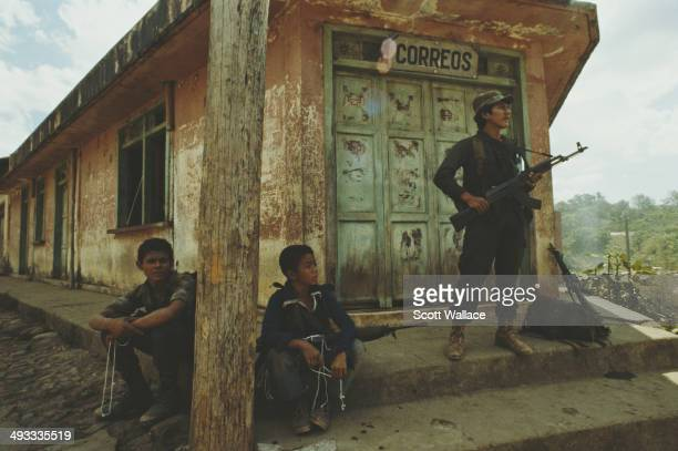 Guerrilla fighters at a post office in El Salvador during the Salvadoran Civil War 1989