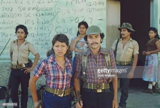 Guerrilla fighters of the FMLN in El Salvador during the Salvadoran Civil War 1985