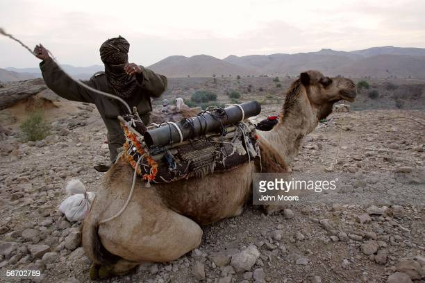 A guerrilla from the Marri tribe loads a rocket launcher on to the back of a camel after spending the night in the mountains near Kahan in the...