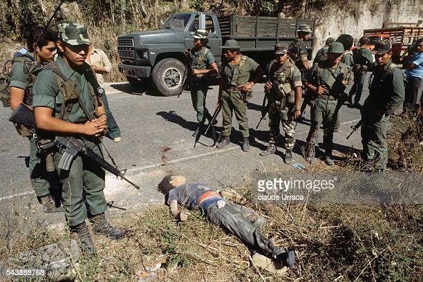 Guerrillera fighters killed during an El Salvadoran military operation near the area of San Martin