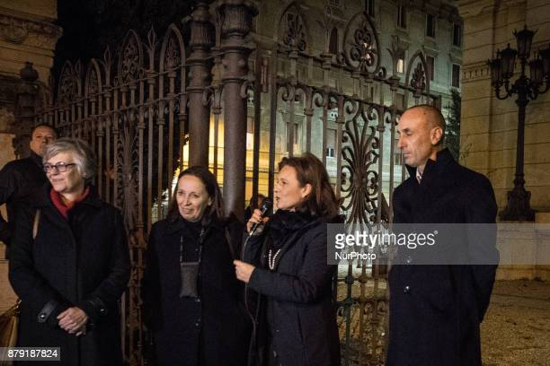 Guerrini Gemma Flavia Marzano and Ruth Durghello during The Great Synagogue of Rome is illuminated for the first time in orange to mark International...