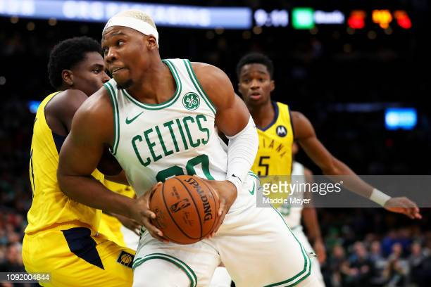 Guerschon Yabusele of the Boston Celtics drives towards the basket during the second half of the game against the Indiana Pacers at TD Garden on...