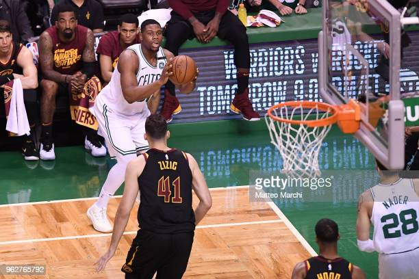 Guerschon Yabusele of the Boston Celtics shoots the ball against Ante Zizic of the Cleveland Cavaliers during Game Five of the 2018 NBA Eastern...