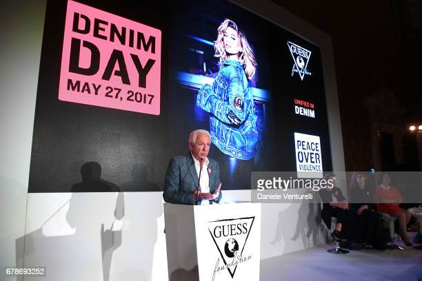 Guess designer Paul Marciano speaks on the stage during the Guess Foundation Denim Day 2017 at Palazzo Barberini on May 4 2017 in Rome Italy