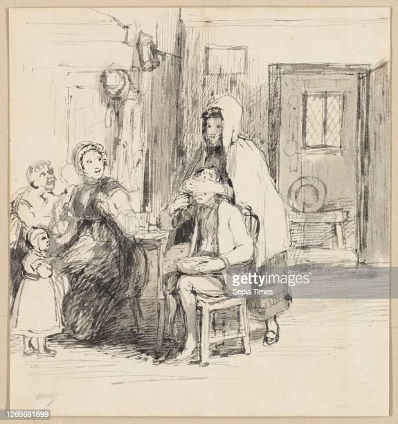 Guess My Name, c. 1821, Sir David Wilkie, Scottish, 1785–1841, United Kingdom, Brush and gray wash on off-white wove paper, discolored to beige, laid...