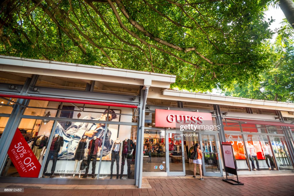 guess store at bayside market place in miami downtown usa stock