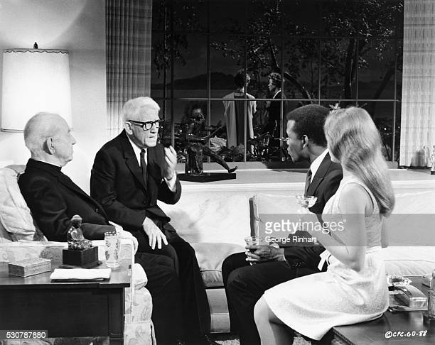 Guess Who's Coming to Dinner produced and directed by Stanley Kramer Columbia Pictures Katharine Houghton and Sidney Poitier background left with...
