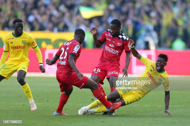 Guessouma Fofana of Guingamp and Anthony Limbombe of Nantes during the Ligue 1 match between Nantes and Guingamp at Stade de la Beaujoire on November...