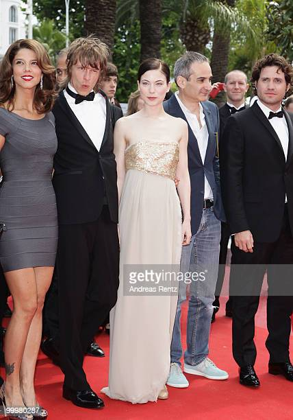 Guest Actor Alexander Scheer Actress Nora Von Waldstaetten and Director Olivier Assayas and Edgar Ramirez attend the 'Carlos' Premiere at the Palais...