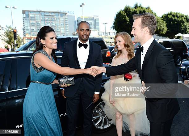 Guest, actor Damon Wayans Jr., Kimberly Van Der Beek and actor James Van Der Beek arrive at Audi at The 64th Primetime Emmy Awards at Nokia Theatre...