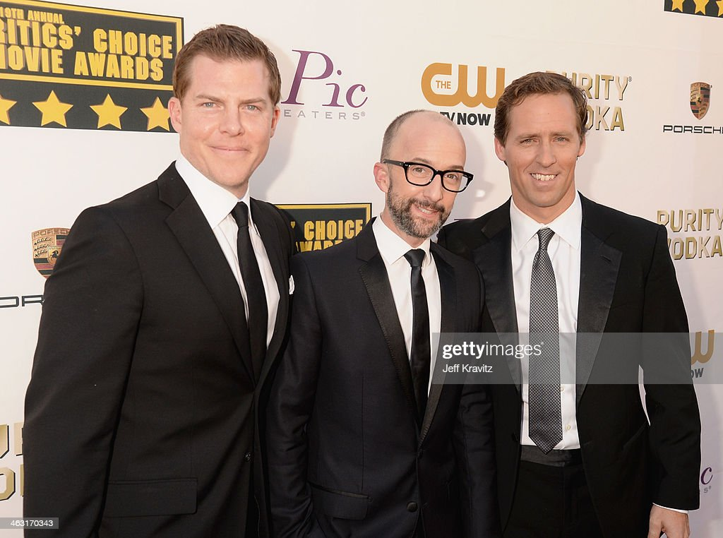 Guest, actor Jim Rash and actor Nat Faxon attend the 19th Annual Critics' Choice Movie Awards at Barker Hangar on January 16, 2014 in Santa Monica, California.