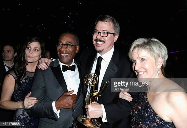 Guest actor Joe Morton producer Vince Gilligan and Holly Rice attend the 66th Annual Primetime Emmy Awards Governors Ball held at Los Angeles...