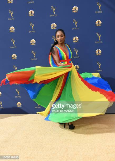 Guest actress in a comedy series nominee Tiffany Haddish arrives for the 70th Emmy Awards at the Microsoft Theatre in Los Angeles California on...
