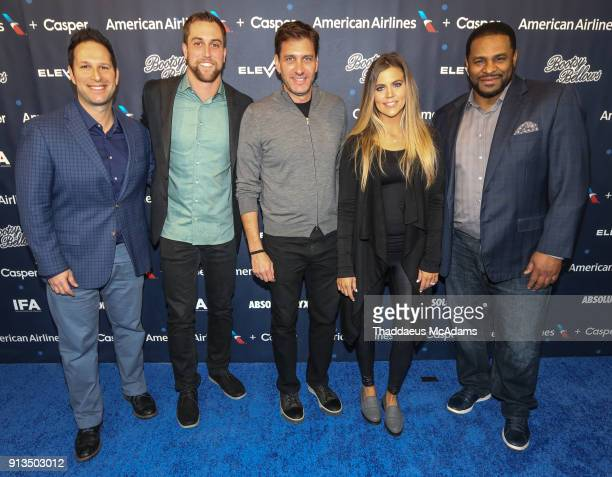 Guest Adam Thielen Mike Greenberg Samantha Ponder and Jerome Bettis attends Inside the Game QA presented by IFA on February 2 2018 in Minneapolis...