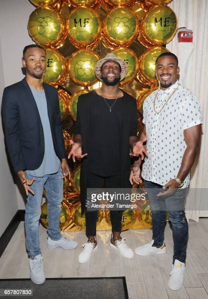 Guest Akeem Hunt and Raheem Mostert pose at the ME Miami Launch Party With Urban Junkies Pacha Ibiza And Cafe Mambo Ibiza Day 2 at ME Miami Hotel on...