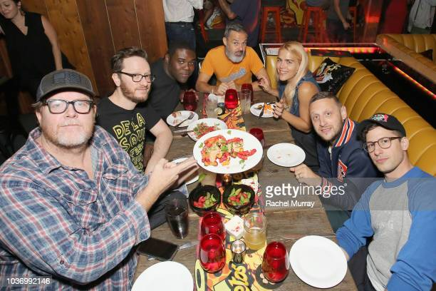 A guest Akiva Schaffer Sam Richardson Marc Silverstein Busy Philipps Tim Robinson and Andy Samberg attend The Flamin Hot Spot Cheetos new limitedtime...