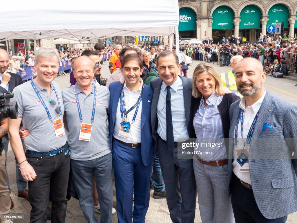 Guest, Aldo Bonomi,guest, Giuseppe Sala, Roberta Guaineri, guest, Attends 1000 Miles Historic Road Race on May 19, 2018 in Milan, Italy.
