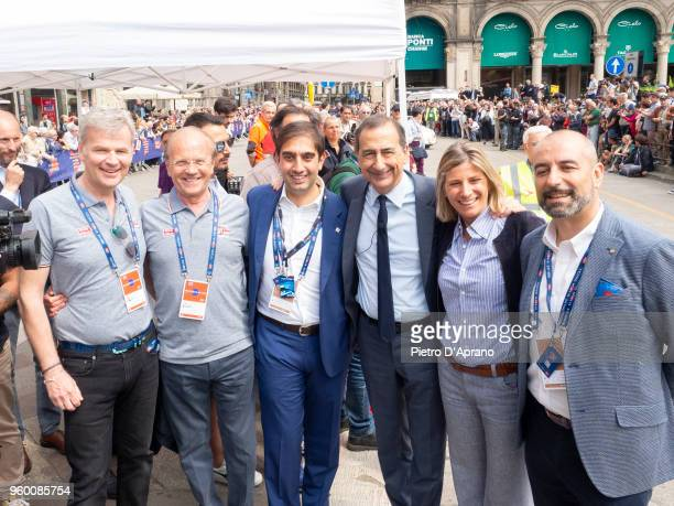 Guest Aldo Bonomiguest Giuseppe Sala Roberta Guaineri guest Attends 1000 Miles Historic Road Race on May 19 2018 in Milan Italy