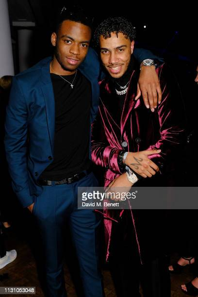 Guest and AJ Tracey attend Beats by Dr Dre Brits After Party on February 20 2019 in London England
