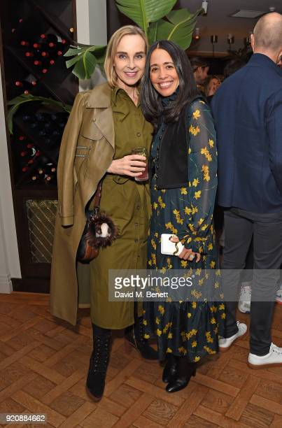 Guest and Carmen Borgonovo attend a cocktail party in honour of Alison Loehnis' 10 year anniversary at NETAPORTER on February 19 2018 in London...
