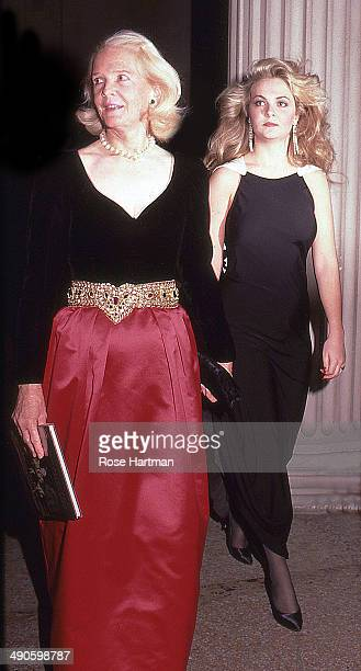 Guest and daughter Cornelia attend the Costume Institute Gala at the Metropolitan Museum of Art, New York, New York, 1981.