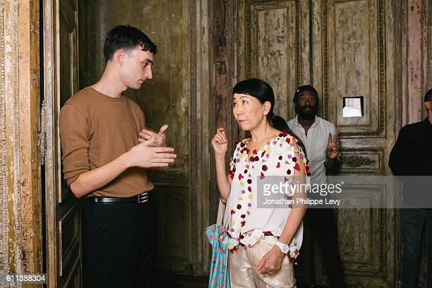 A guest and Designer Tsumori Chisato pose prior the Tsumori Chisato Presentation as part of the Paris Fashion Week Womenswear Spring/Summer 2017 on...