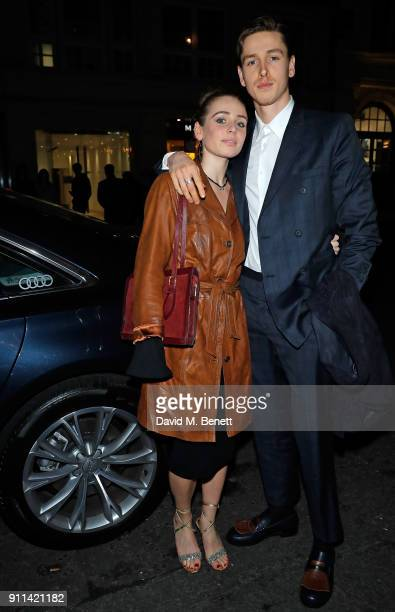 Guest and Harris Dickinson arrive in an Audi at the Critics' Circle Awards at The May Fair Hotel on January 28 2018 in London England
