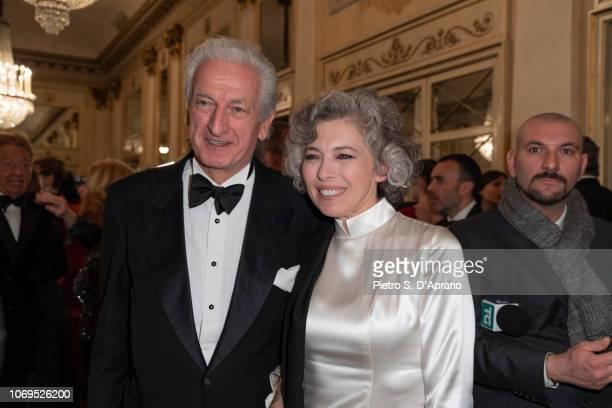 Guest and Irene Pivetti attend the Prima Alla Scala at Teatro Alla Scala on December 7 2018 in Milan Italy