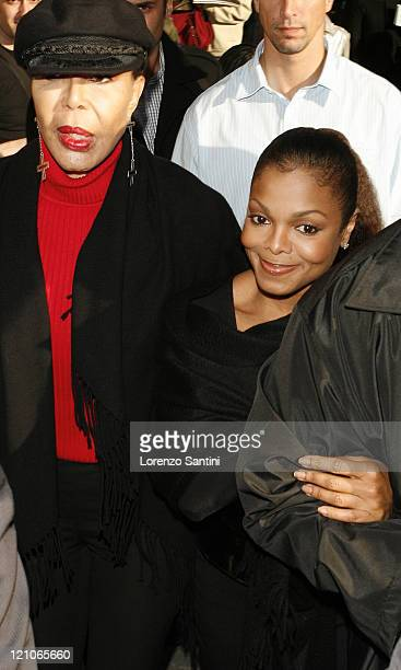 Guest and Janet Jackson during Paris Fashion Week Spring Summer 2007 Hermes Backstage at Paris in Paris France