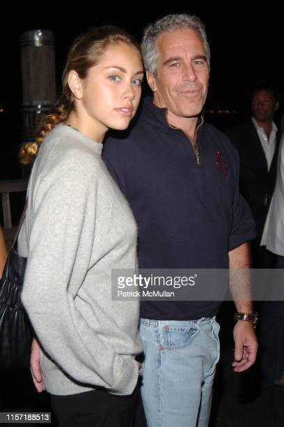 Guest and Jeffrey Epstein attend Imperia US Launch Party at The Statue Of Liberty at Liberty Island on September 7 2005 in New York City