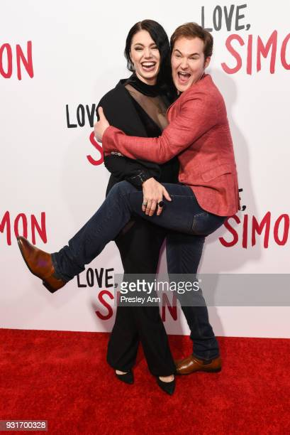 Guest and Justin Prentice attend Special Screening Of 20th Century Fox's 'Love Simon' Arrivals at Westfield Century City on March 13 2018 in Century...