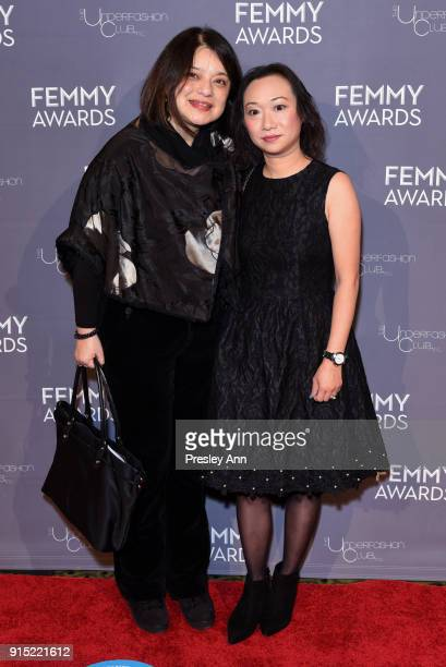 Guest and Maggie Chan attend 2018 Femmy Awards hosted by Dita Von Teese on February 6 2018 in New York City