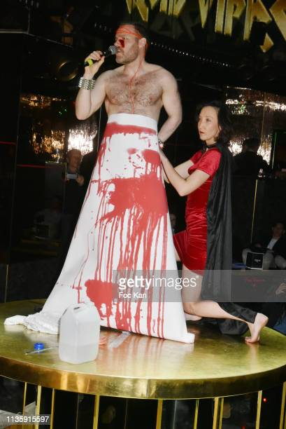 DJ/organizer Gwenael Billaud and Sylvie Ortega Munos attend Le Temps Retrouve Party at the VIP RoomTheater on March 14 2019 in Paris France
