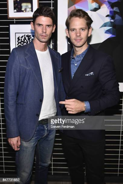 A guest and Thomas Pierce attend PMA with KANTRR Labs and Pierce Capital Entertainment host the Wrap Party of 'Tu Me Manques' Sponsored by Singani 63...