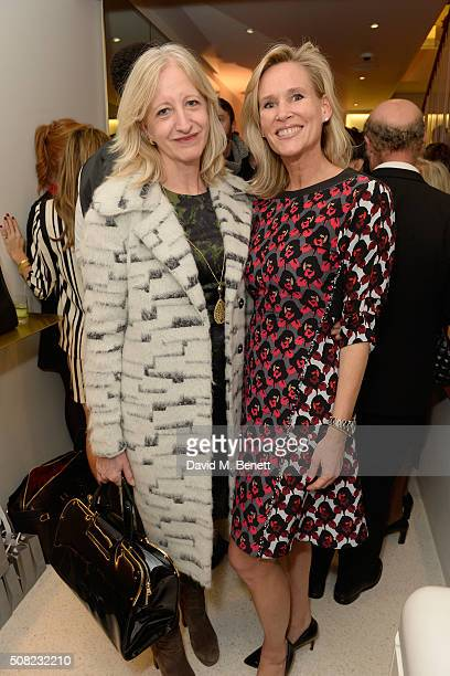 A guest and Tia Graham attend the opening of the new JM Davidson store in Mount Street Mayfair on February 3 2016 in London England