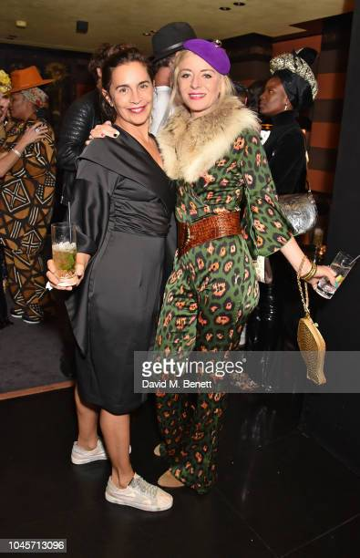 Guest and Victoria Grant attend a private view of Free Woman An Exhibition by Diana Gomez at Blakes Hotel on October 4 2018 in London England