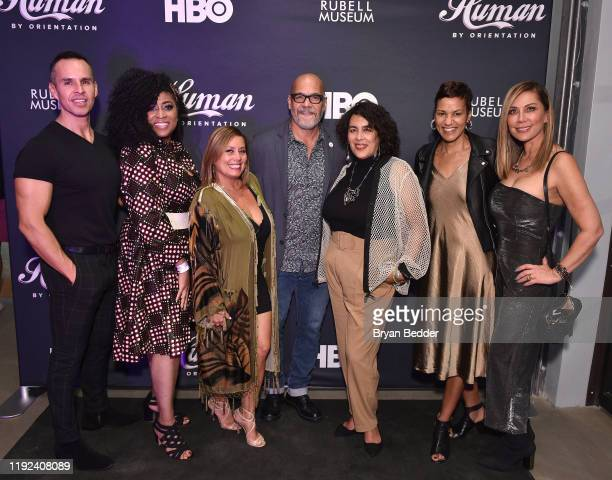 Guest Angela Burgin Logan guest Tony Hernandez Muriel Parra Jackie Gagne and guest attends HBO's Human By Orientation panel at Art Basel Miami at...