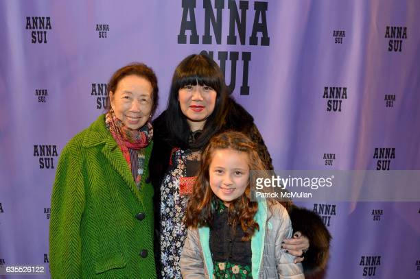 Guest Anna Sui and Grace Sui pose backstage at Anna Sui Fall/Winter 2017 Show during New York Fashion Week The Shows on February 15 2017 in New York...