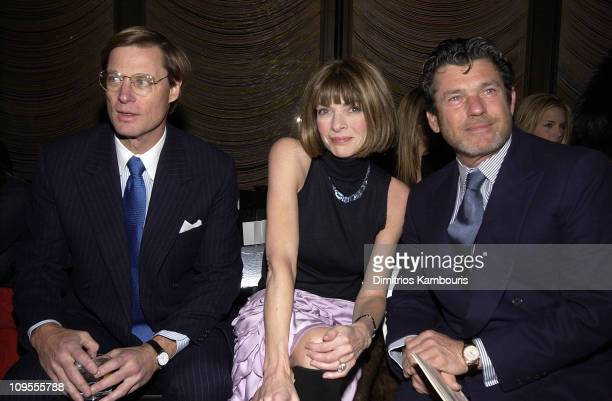 Guest, Anna Wintour and Jann Wenner during Mercedes Benz Fashion Week Fall 2003 Collections - Zac Posen - Front Row at Four Seasons Restaurant in New...