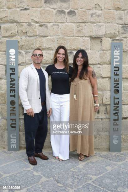 A guest Anne de Carbuccia and Monica de Felice attend One Planet One Future Cocktail Party on June 22 2018 in Naples Italy