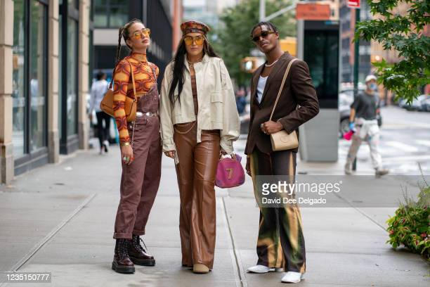 Guest are seen arriving at the Duo Doux Spring Summer 2022 fashion show at Spring Studios during New York Fashion Week on September 09, 2021 in New...