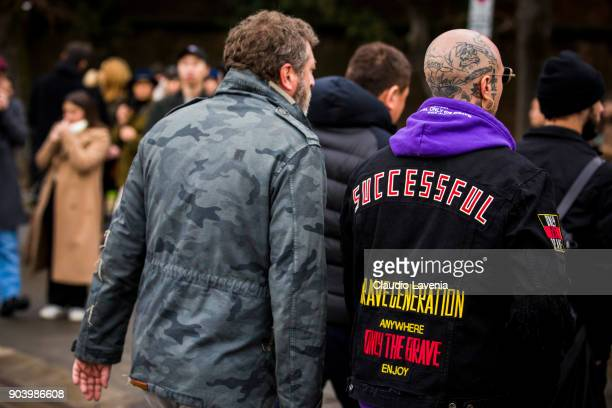 Guest are seen during the 93 Pitti Immagine Uomo at Fortezza Da Basso on January 11 2018 in Florence Italy