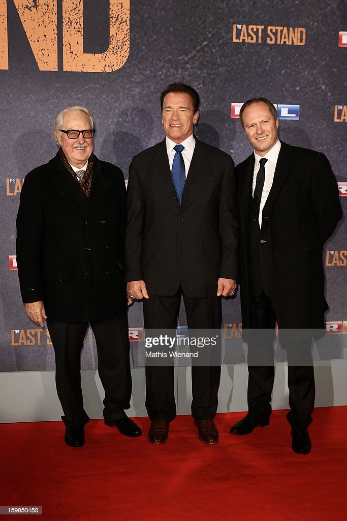 Guest, Arnold Schwarzenegger and Andreas Klein (CEO Splendid) attend the 'The Last Stand' Cologne Premiere at Astor Film Lounge on January 21, 2013 in Cologne, Germany.