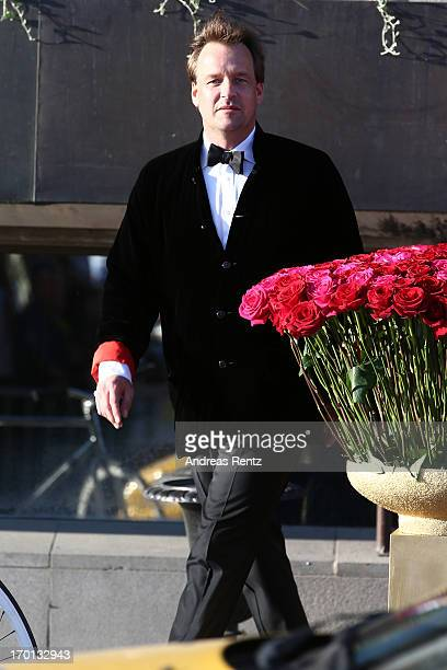 A guest arrive at a private dinner on the eve of the wedding of Princess Madeleine and Christopher O'Neill hosted by King Carl XVI Gustaf and Queen...