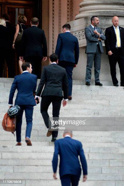 Guest arrive for a fundraiser with former VicePresident Joe Biden at the Franklin Institute in Philadelphia PA on September 23 2019
