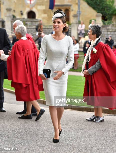 A guest arrives ahead of the wedding of Princess Eugenie of York to Jack Brooksbank at Windsor Castle on October 12 2018 in Windsor England