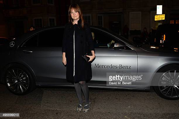 A guest arrives at Harper's Bazaar Women Of The Year Awards at Claridge's Hotel on November 3 2015 in London England