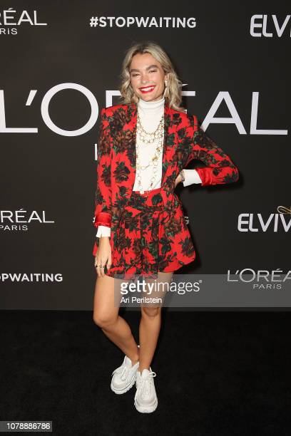 A guest arrives at L'Oreal Paris Celebrates the Launch of Elvive Rapid Reviveron January 4 2019 in Hollywood California