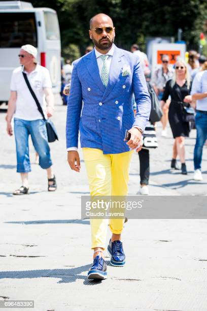 Guest arrives at Pitti Immagine Uomo 92 at Fortezza Da Basso on June 15 2017 in Florence Italy