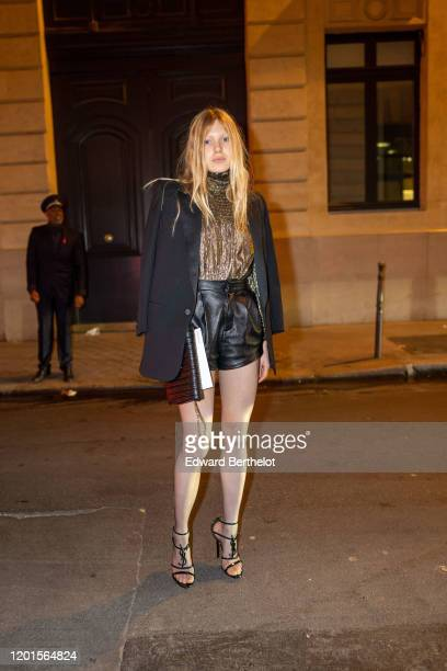 A guest arrives at Sidaction Gala Dinner 2020 At Pavillon Cambon on January 23 2020 in Paris France